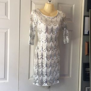 Crystal Doll Dresses - Small white and silver sequin cocktail dress